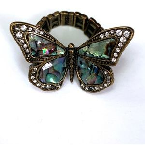 Fossil Beaded Butterfly Boho Ring